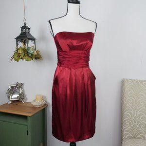 David's Bridal Dress Short Strapless Satin Sz 4